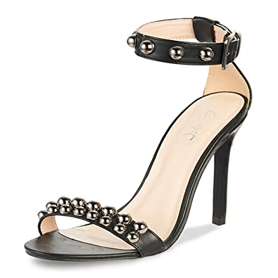 f83a056d811 JSUN17 Women s High Heel Sandals Black Sexy Rivets Block Ankle Strap Sandal  Stiletto Heels Fashion Office