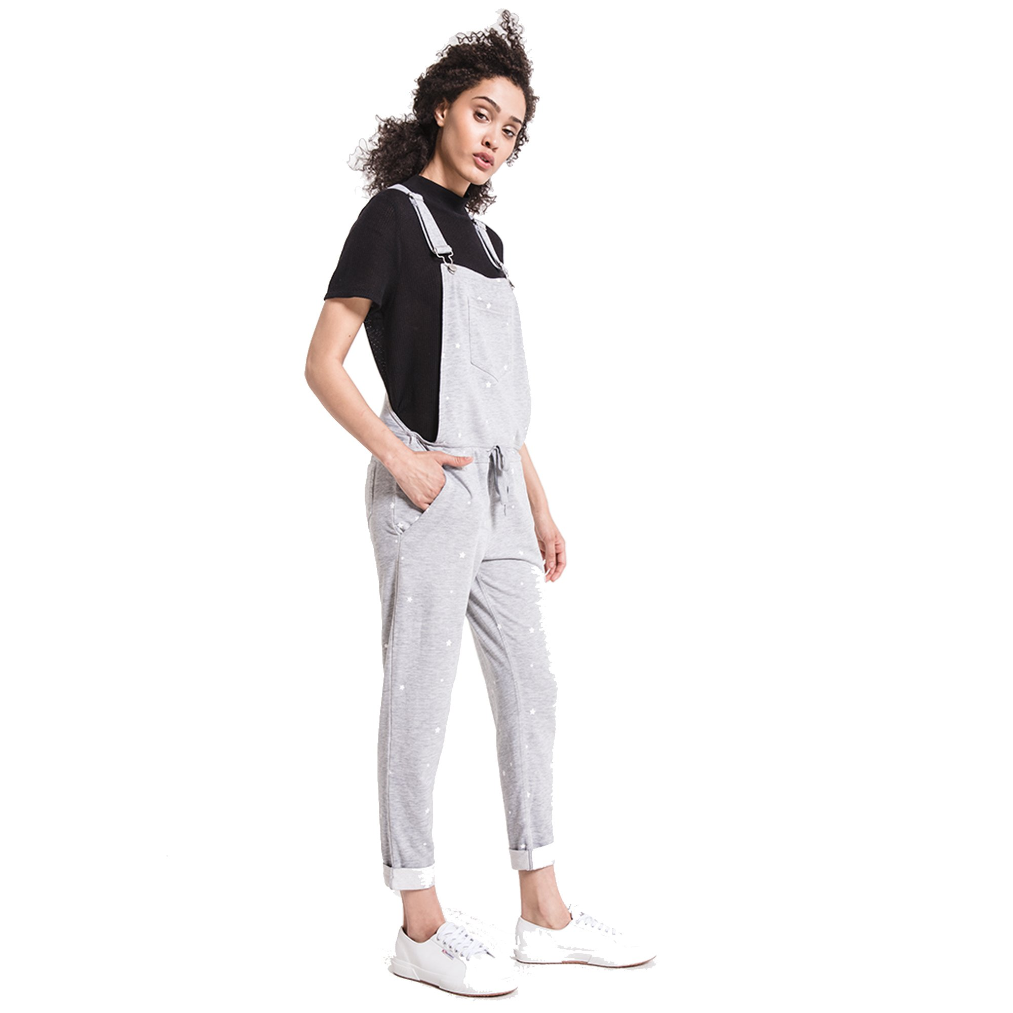 Z SUPPLY Women's Star Print Overalls Lightweight Relaxed Fit, Heather Grey/White, Large