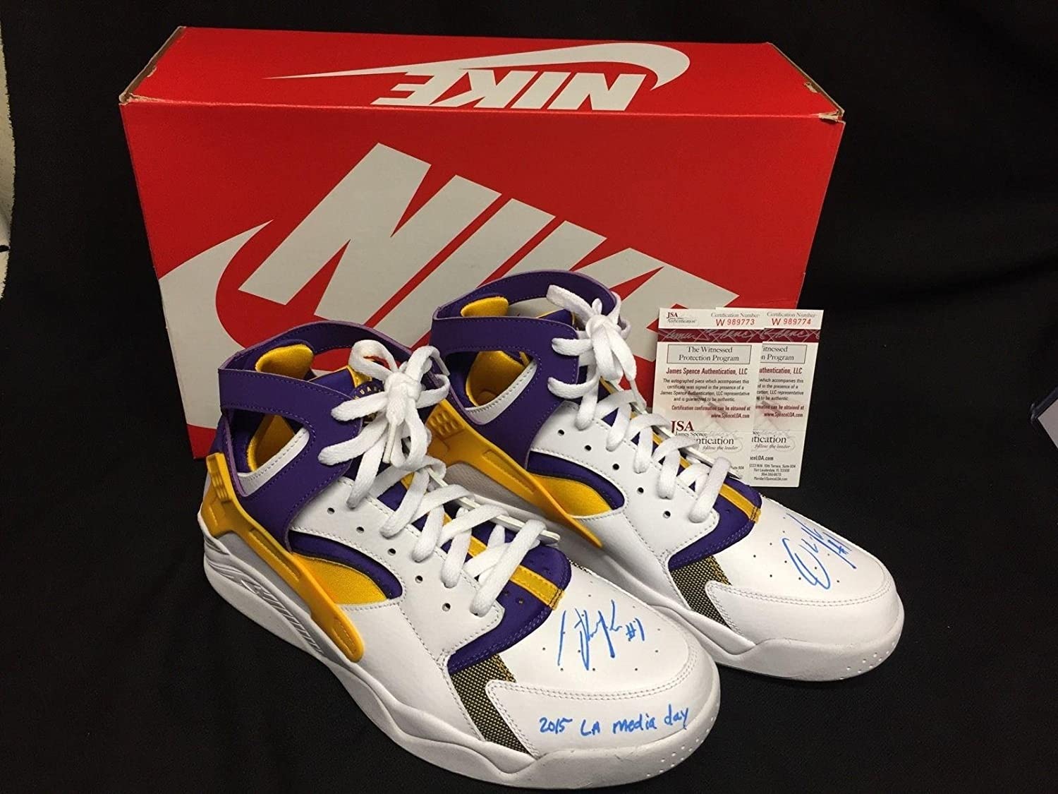 brand new c6837 8f685 D Angelo Russell Signed Lakers Nike Air Flight Huarache Basketball Shoes -  JSA Certified - Autographed NBA Sneakers at Amazon s Sports Collectibles  Store