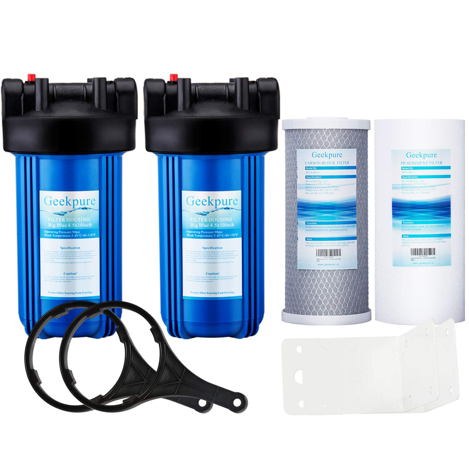 """Geekpure 2 Stage Whole House Water Filter System w/ 10-Inch Big Blue Housing-with 5 Micron 4.5""""x 10"""" PP and Carbon Filters-1""""NPT Inlet/Outlet"""