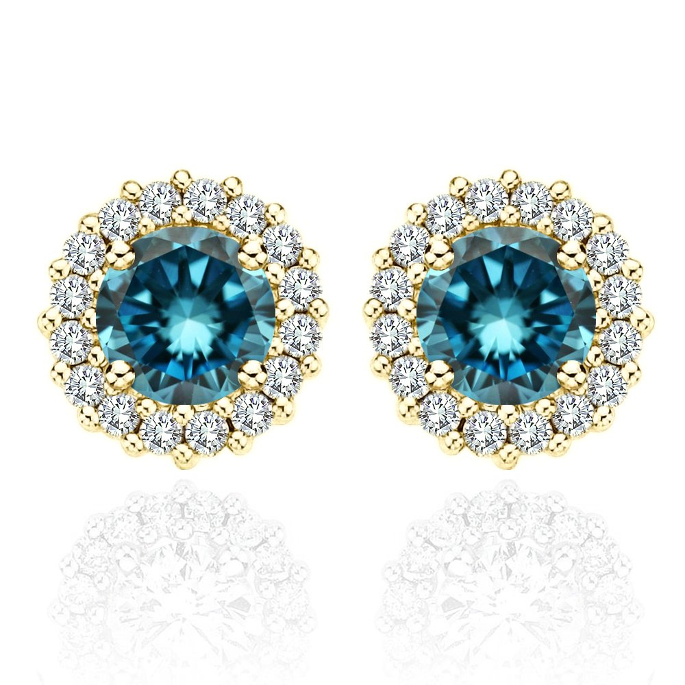 0.50 Carat Blue Diamond Flower Solitaire Stud Women Pair Earrings With Halo Jackets 14K Yellow Gold