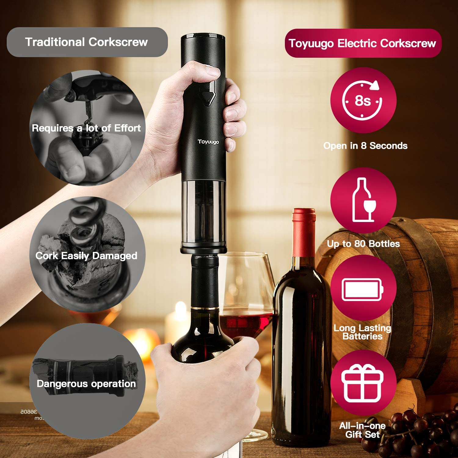 Toyuugo Electric Wine Opener Party and Wine lover 3 Piece Gift Set Automatic Corkscrew set contains Foil Cutter Vacuum Stopper and Wine Aerator Pourer for Dating