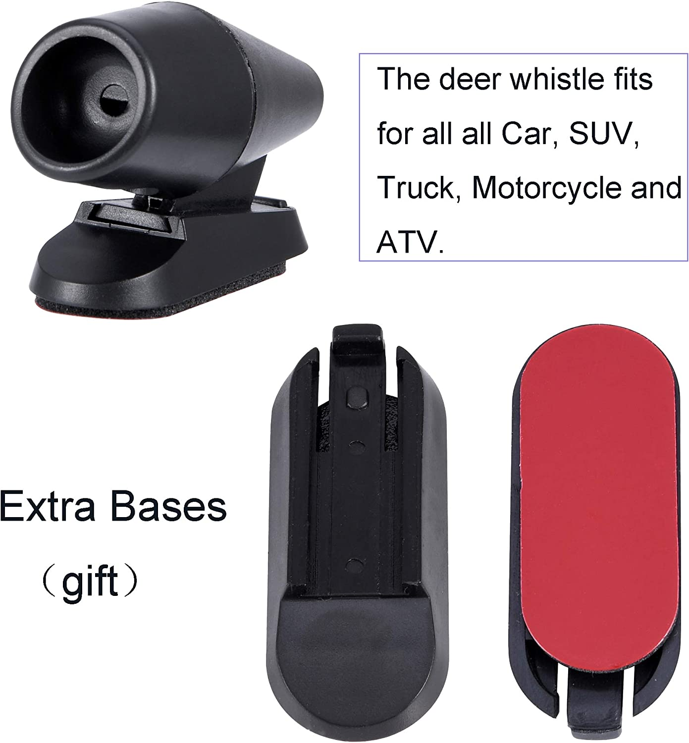 BingSnow 4 Pack Deer Whistles for Car with 4 Pack Extra Bases and Carry Product Instruction 2 Pack Ultrasonic Whistles and 2 Pack Wind Whistles