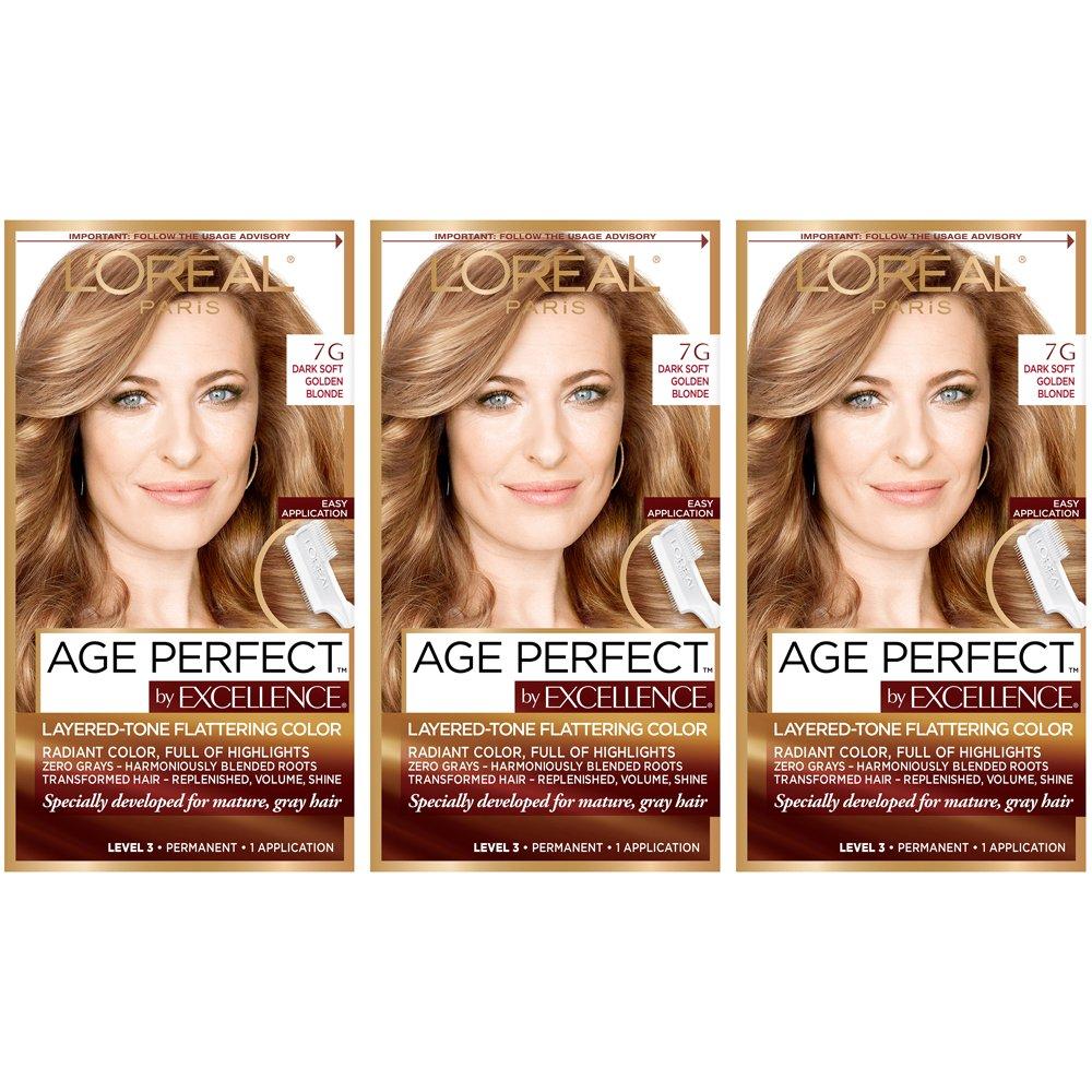 L'Oréal Paris Age Perfect Permanent Hair Color, 7G Dark Natural Golden Blonde (Pack of 3) by L'Oreal Paris