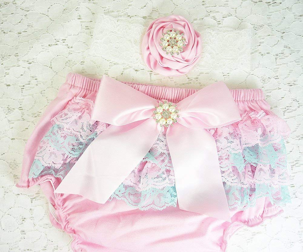 Pink and Aqua Lace Baby Bloomers and Headband Set, Diaper Cover, Size L, 12-18 mos, Kids Fashions, Cake Smash Outfit, Girl's 1st Birthday, Photo Prop, USA Girl's 1st Birthday