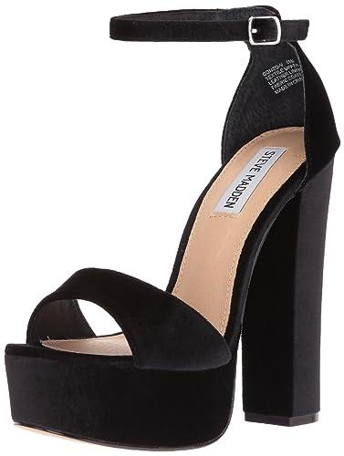 Steve Madden Women's Gonzo-v Dress Sandal, Black Velvet, ...