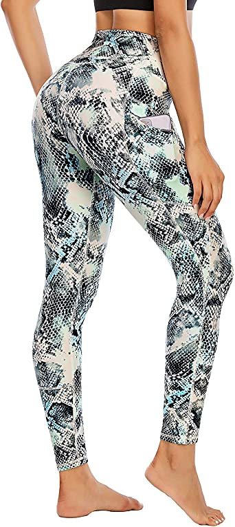 FAFAIR Printed Yoga Pants with Pockets for Women Workout Leggings High Waisted Non See-Through 4 Way Stretch