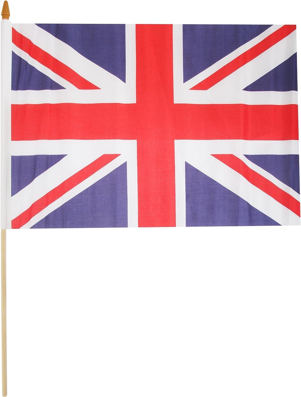2 x Königin Coronation 60th Aniversario Reino Unido Union Jack winkender Madera Mano Bandera 45 x 30 cm: Amazon.es: Jardín