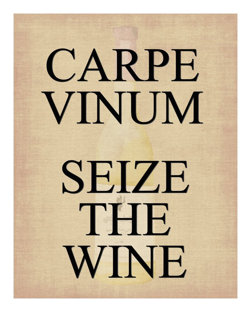 Funny Wine Print - Capre Vinum Seize the Wine - With Wine Bottle Fading in Background - 11x14 Unframed Art Print - A Great Gift for Those Passionate About Wine
