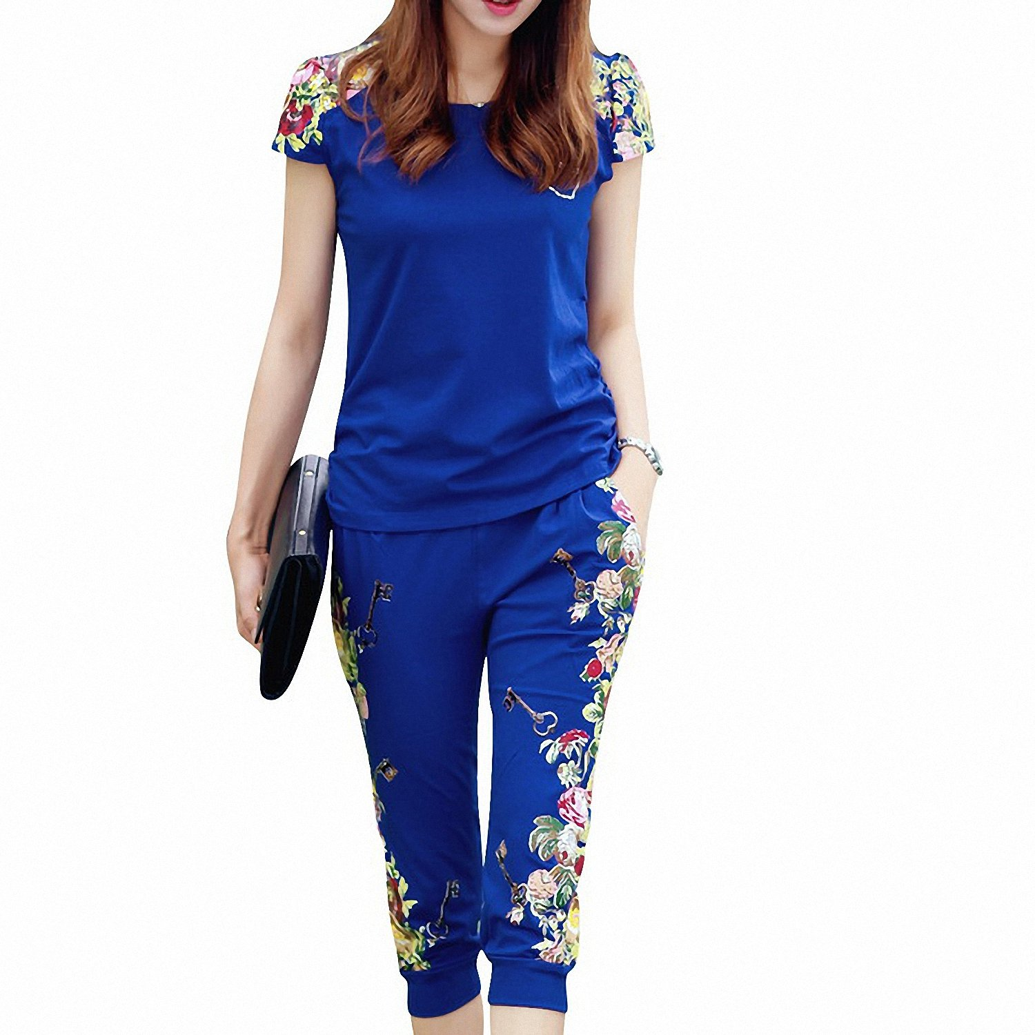Drawingo Fashion Flowers Printed Women Tracksuit Casual T-Shirts + Pants Lady Clothing Suit Size L-4Xl China Style Summer Lady Sets Mid Blue XL