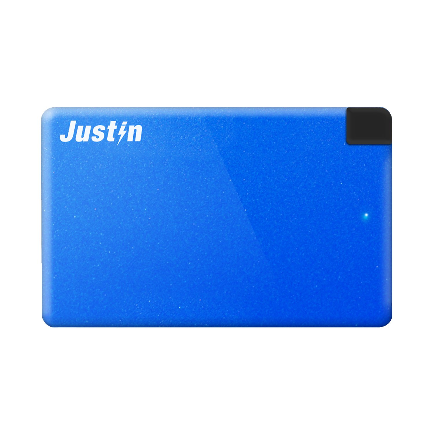 Justin Power 2,500 mAh Slim Power Bank with Built-In Micro-USB Cable, Blue