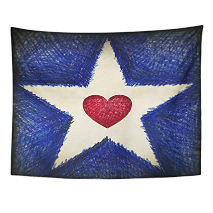 1f7b4928c689 Emvency Tapestry 60 x 50 Inches Americana White Star on Blue with Aged  America Antique Flag