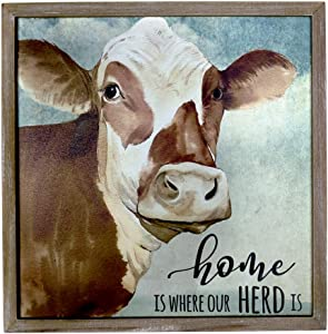 "HOMirable Wall Decor Rustic Home Sign Animal Country Farmhouse Print Picture Canvas Vintage Wall Art Plaque Decoration for Kitchen Bedroom Bathroom 11.8"" x 11.8"" (COW)"