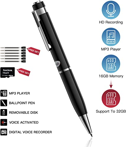 Mini Digital Rechargeable Audio Sound Voice Recorder Pen Dictaphone MP3 Player