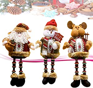 Sitting Santa Claus Snowman Reindeer Doll, Super Cute Christmas Plush Toy Long Leg Table Fireplace Decor Home Decoration Christmas Plush Figurines Gifts 3 Pack
