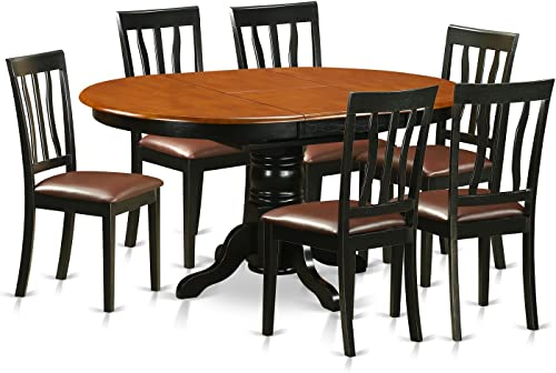 AVAT7-BLK-LC Dining set – 7 Pcs with 6 Wooden Chairs