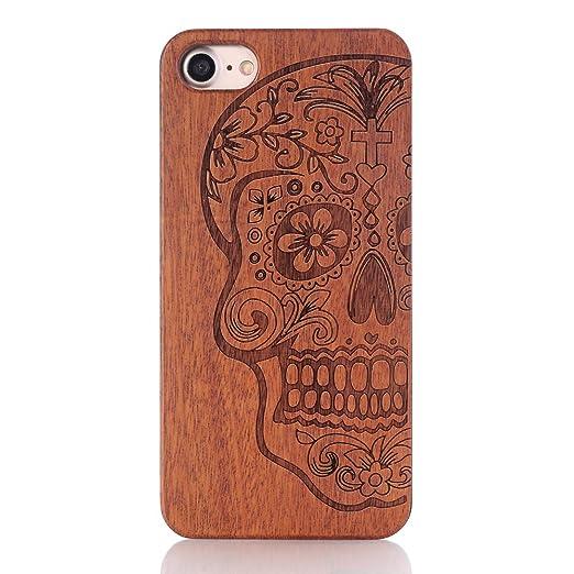 13 opinioni per iPhone 7 Cover, G-i-Mall Ultra Sottile Vero legno Hard Back Wood Custodie