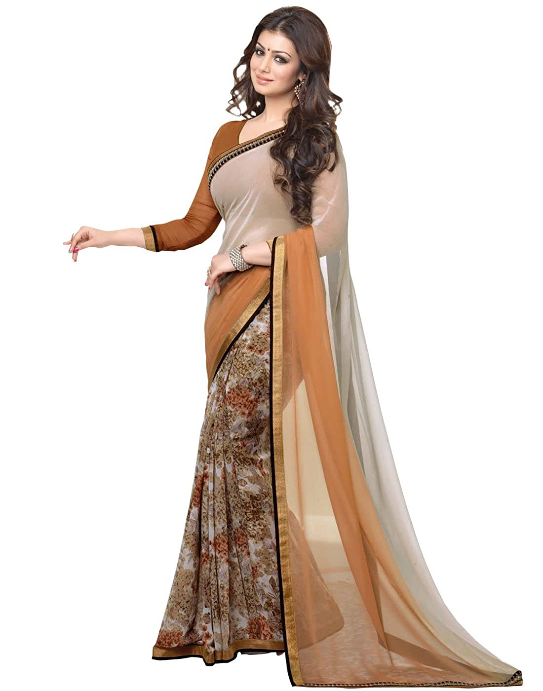 e37393bea3 Gazal Fashions Brown Chiffon Saree(GZL01SRI206): Amazon.in: Clothing &  Accessories