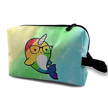Funny Rainbow Gay Narwhal Sunglass Bolsa de Viaje cosmética ...