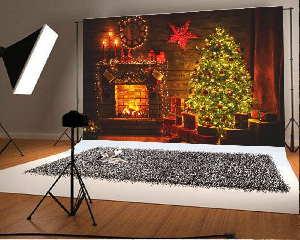Laeacco Vinyl 7x5ft Christmas Photography Backdrops Indoor Christmas Tree Gift Boxes Burning Fireplace Red Candlesticks Roses Clock Wooden Floor Background Child Kids Adult Portrait Shoot