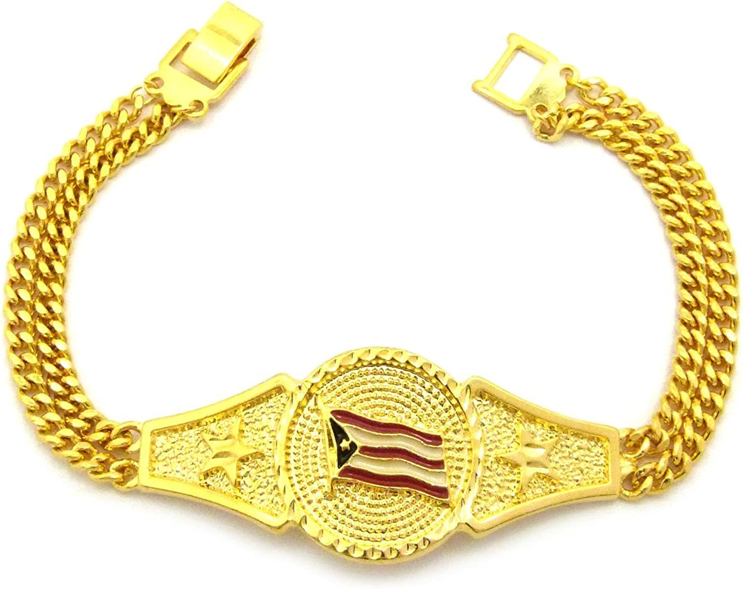 "Fashion 21 Unisex Puerto Rico Flag Piece 3mm 7.75"" Link Chain Bracelet in Gold Tone"