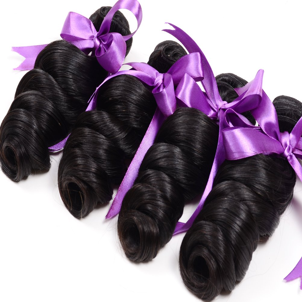Loose Wave Brazilian Hair 8A Brazilian Loose Wave 3 Bundles Unprocessed Human Hair Extensions Mink Hair Bundles Wet and Wavy Human Hair Natural Black (20'' 22'' 24'') by Shireen Hair (Image #2)