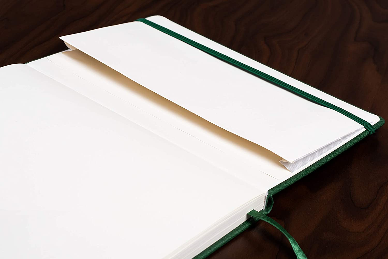 A5 - dise/ño de rayas marr/ón papel crema espeso cuero sint/ético Beechmore Books: Cuadero de tapa dura 120 gsm