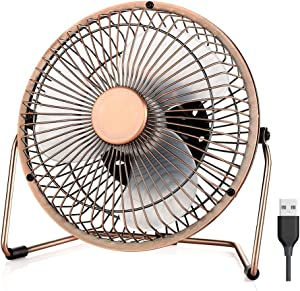 EasyAcc 5 inch USB Desk Fan, Low Noise Personal Table Mini Desk Metal Cooling Fan USB Powered Only Upgraded 2 Speeds 360° Rotation Floor Fans Enhance Airflow for Home Dorm Office Library Table-Bronze