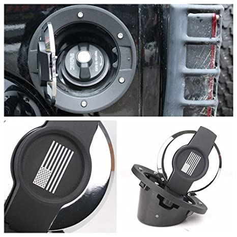 Athiry Fuel Tank Black Aluminum Powder Coated Steel Gas Cover Gas Cap Cover for Jeep Wrangler JK /& Unlimited 2007-2017 2D//4D