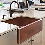 Luxury HEAVY-GAUGE (12-Gauge) 30-Inch Modern Copper Farmhouse Sink (44 LBS Pure Copper), Apron Front, Single Bowl, Antique Co