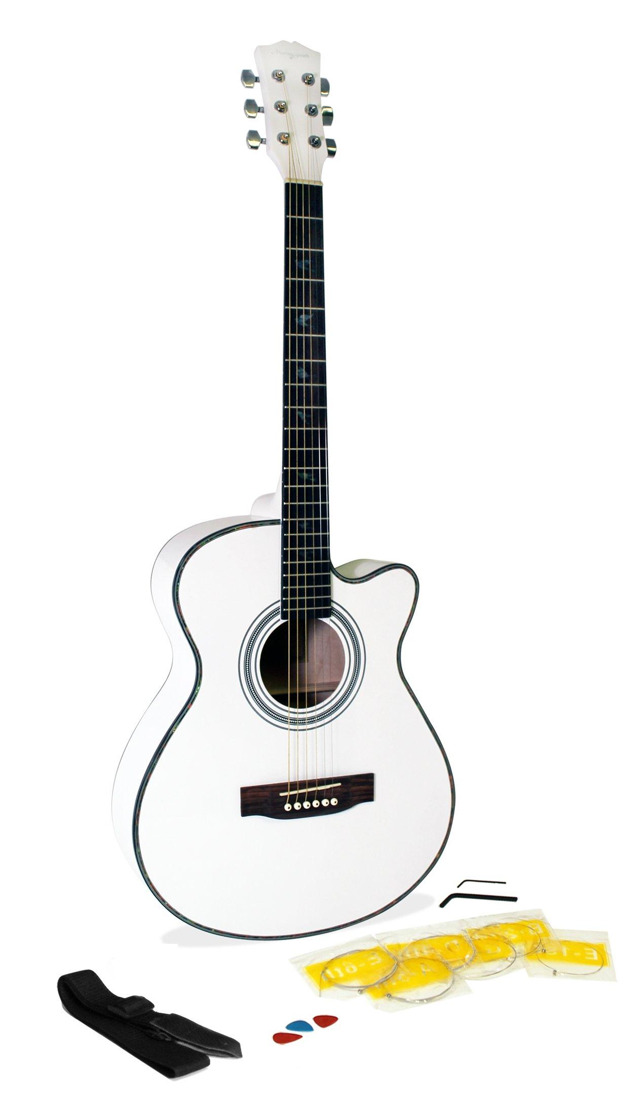 Martin Smith W-401E-WHT - Guitarra acústica con cuerdas metálicas, color blanco