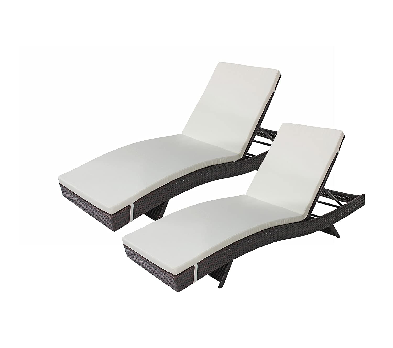 Amazon com 2 pack all weather modern outdoor patio chaise lounge chairs brown garden outdoor