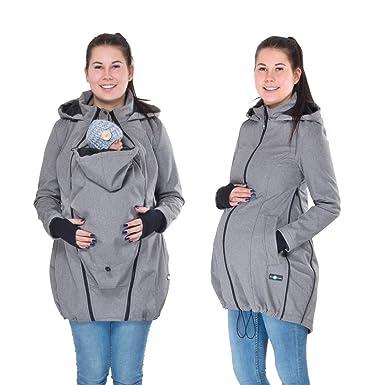 4b155c97a9dc8 FUN2BEMUM 3in1 Softshell Coat Babywearing Jacket Maternity Coat Grey  Melange NP29 (XS)