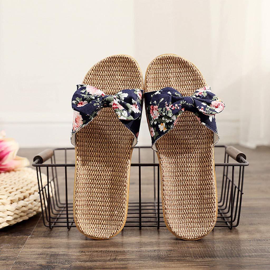BiCophy Nouveau WomenFashion Femme Boh/ême Bowknot Lin Lin Tongs Chaussures De Plage Sandales Pantoufle