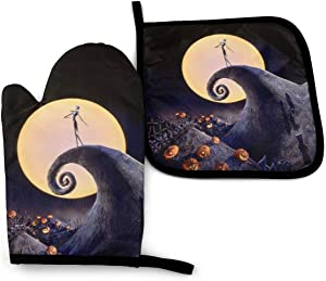 FEAIYEA The Nightmare Before Christmas Oven Mitts and Pot Holders Set Kitchen Gift Set, Non-Slip Textured Grip and Heat Resistant Perfect for Cooking Baking BBQ Grilling