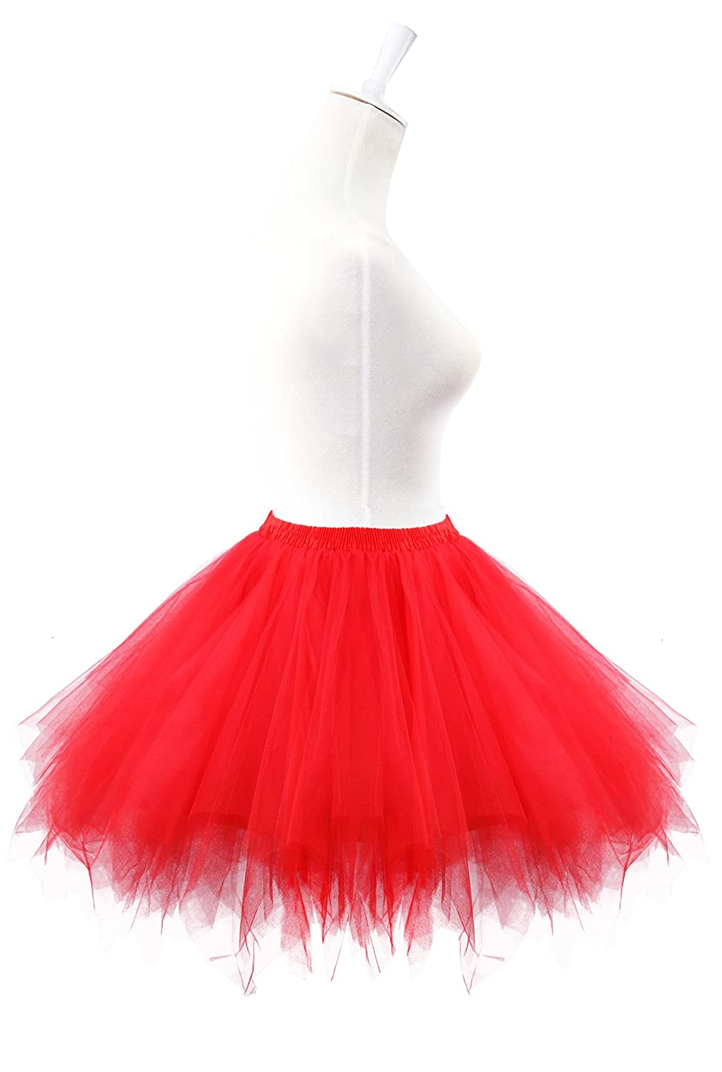 c2caff426 Amazon.com: Acecharming Girl's Ballet Tutu Skirts Tulle Bubble Classic Prom  Ball Layered Underskirt(Red: Clothing