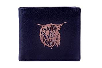 Luxury Engraved Leather Mens Wallet with Highland Cow Image