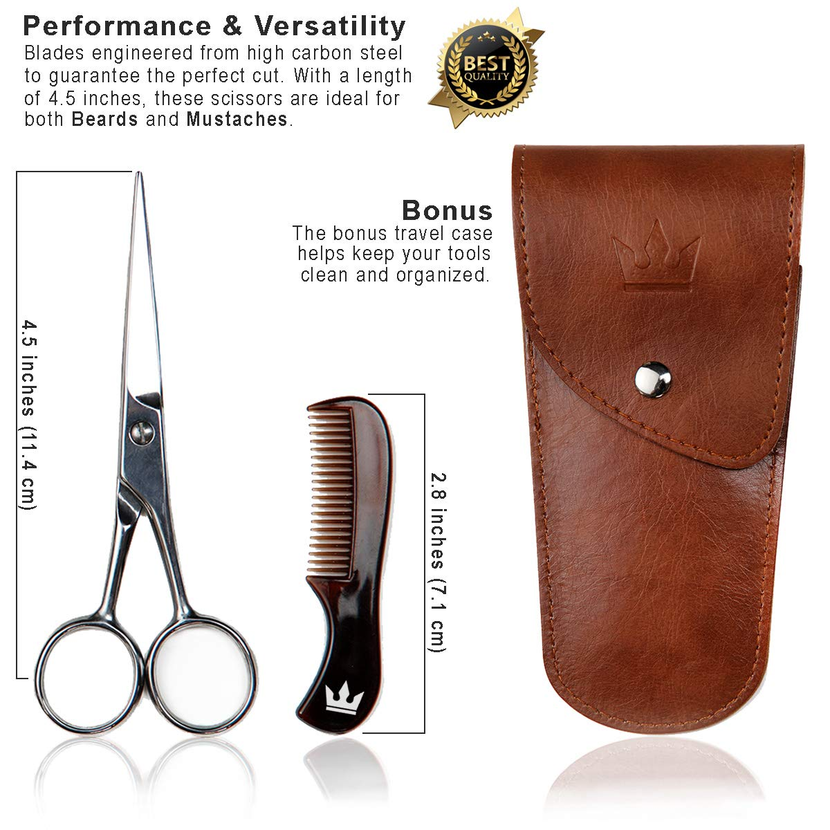 Premium Beard and Mustache Trimming Kit - Includes Scissor, Comb, and Hair Clippings Catcher & Grooming Cape Apron with Travel Bag