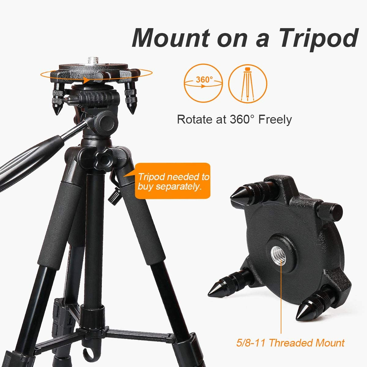 with Standard 5//8 Threaded Mount Huepar Laser Level Adapter 360-Degree Rotating Base for Line Laser Level Tripod Connector Manually Operated Micro-adjust Fine Turning Pivoting Base PV7