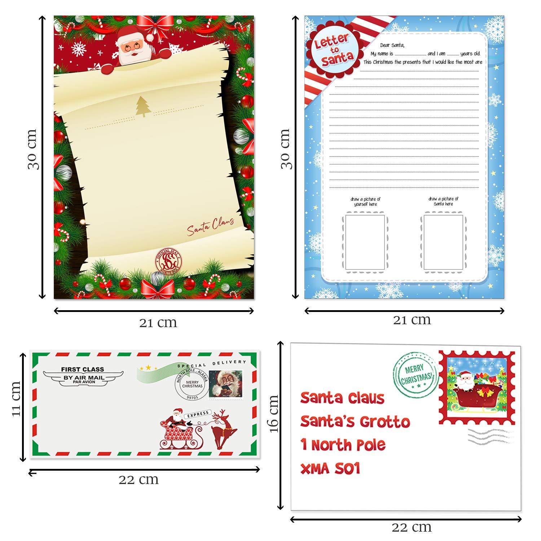Lettera a Babbo Natale con adesivi matita e buste North Pole