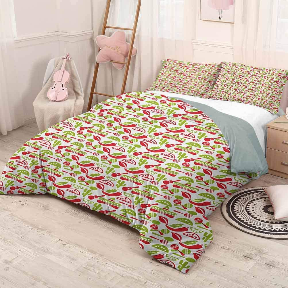 prunushome Fiesta 3-Piece Duvet Cover Bedding Set Mexican Civilization Elements Hats Guitars Food Musical Instruments Softest, Coziest Bed Sheets Ever Vermilion Green White California King Size