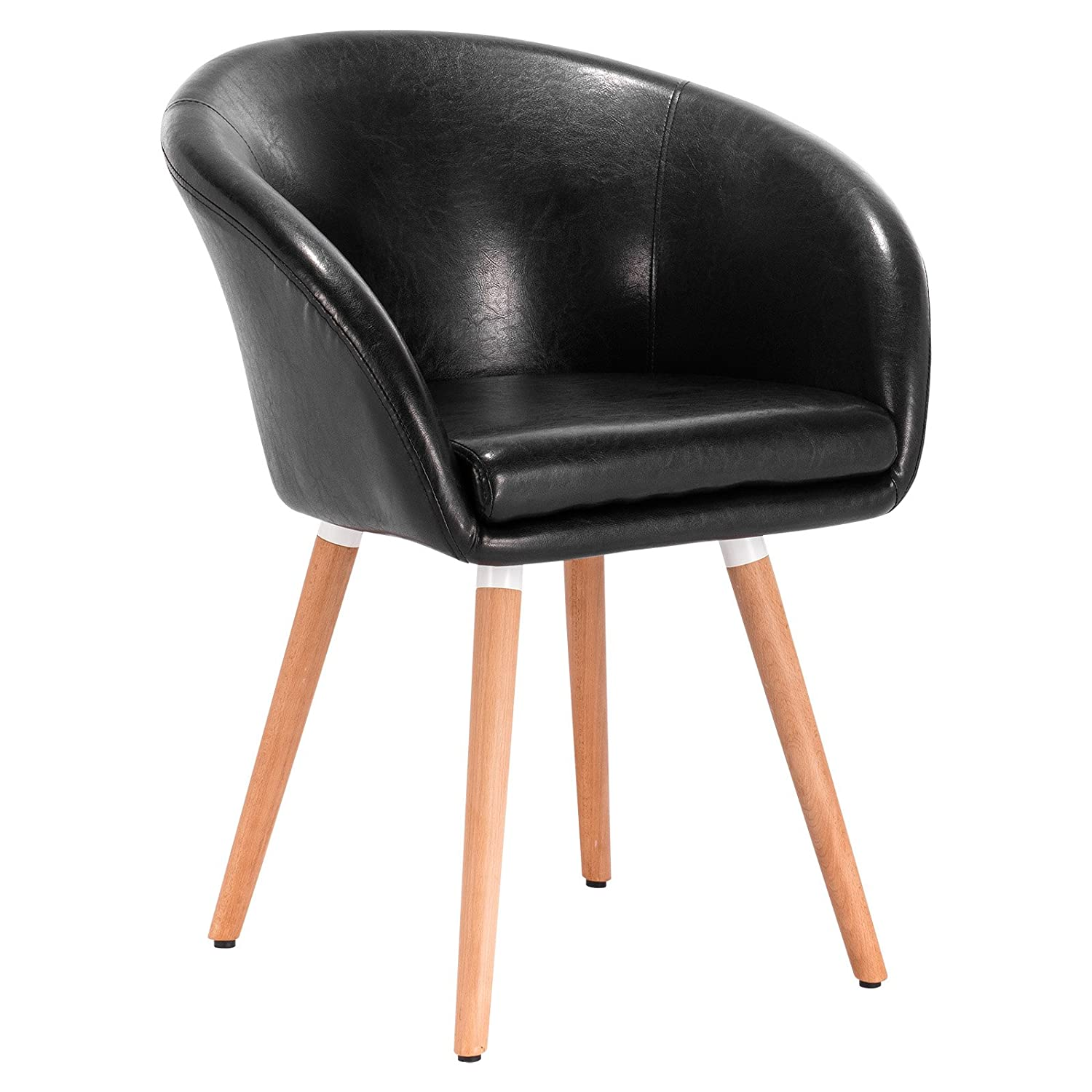 Sensational Details About Black Faux Leather Retro Vintage Padded Lounge Armchair Dining Room Tub Chair Pdpeps Interior Chair Design Pdpepsorg
