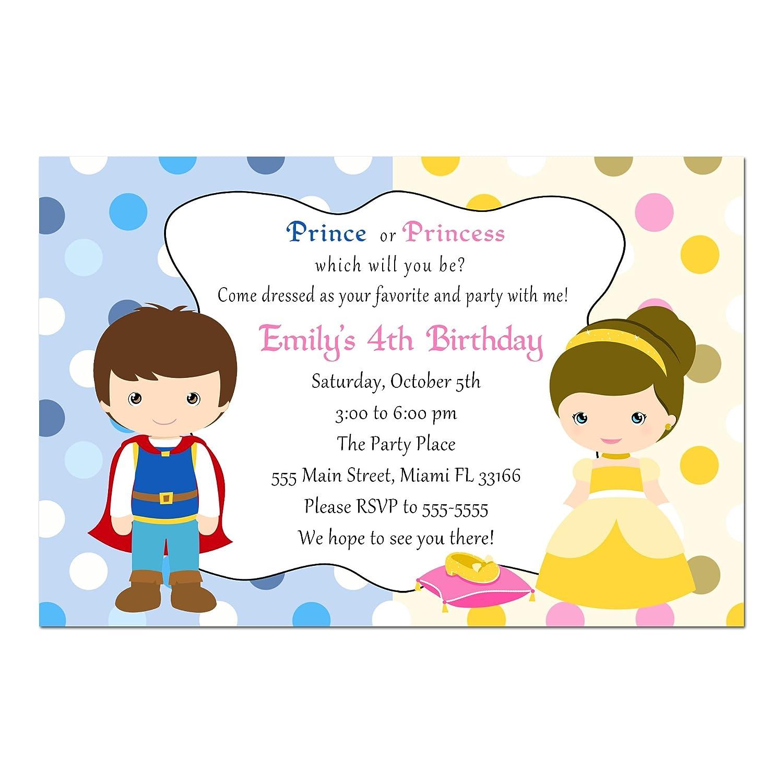 Amazon.com: 30 Invitations Prince Princess Girl Boy Birthday Party ...