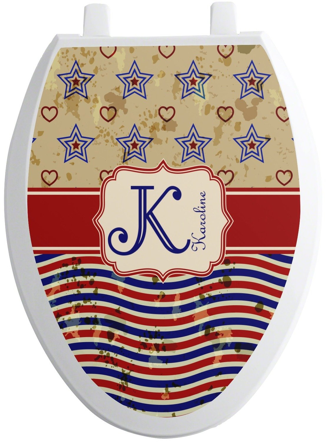 Vintage Stars & Stripes Toilet Seat Decal - Elongated (Personalized) high-quality
