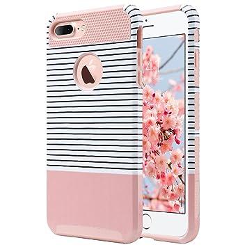 ULAK Caso del iPhone 7 Plus, Caso Funda Carcasa híbrido con PC Dura y Cubierta de Goma Interior para iPhone 7 Plus 5.5 Pulgadas (Rayas Minimal + Oro ...