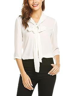 4b7a129a05550a Grabsa Women's Casual Half Sleeve Shirts Bow Tie Neck Chiffon Office Work  Blouse Tops