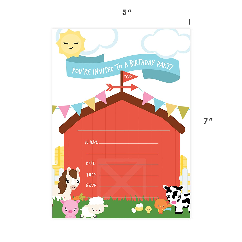 Amazon.com: Barnyard Farm Style 1 Happy Birthday Invitations Invite ...