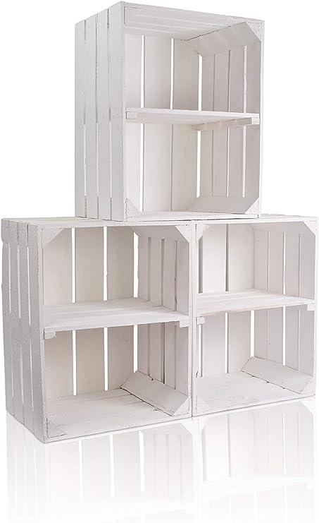 CHICCIE Caja de Madera en Blanco, en Vintage Look – , Distintos tamaños Color Blanco – Fruta (Vino Caja: Amazon.es: Hogar