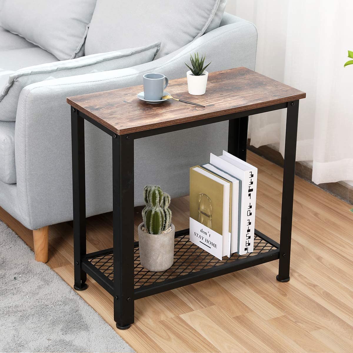 Industrial Console Table, Bonzy Home Entryway Table with Metal Mesh Shelf Hallway Table for Living Room, Sofa Table