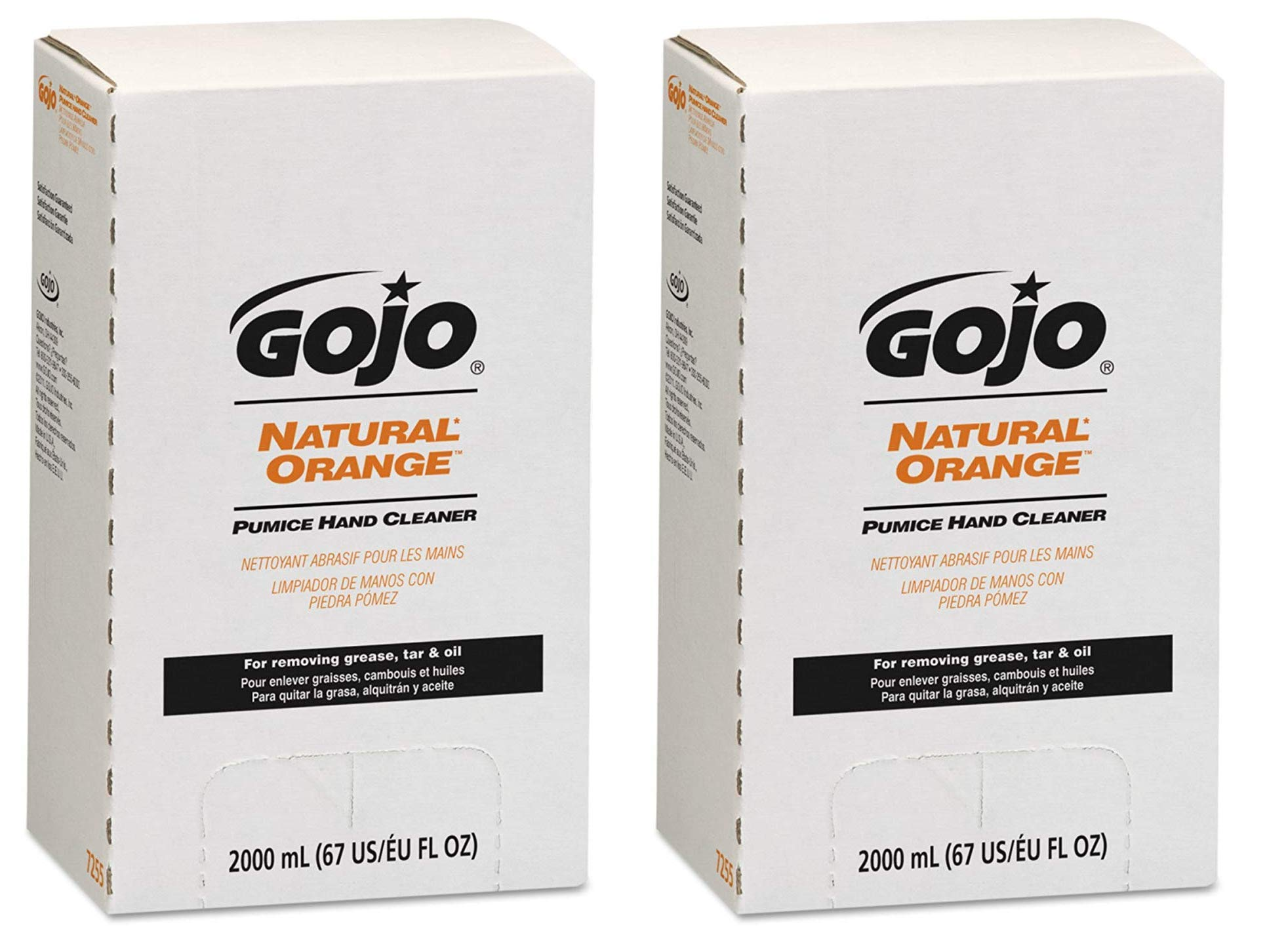 GOJO NATURAL ORANGE Pumice Hand Cleaner, 2000 mL Quick Acting Lotion Hand Cleaner with Pumice Refill for GOJO PRO TDX Dispenser (Pack of 4) - 7255-04 (Twо Pаck) by Gojo